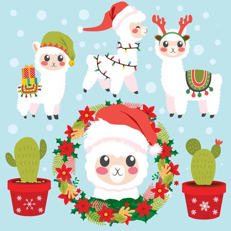 Christmas decor elements collection of different funny alpaca with Santa hat, presents and cactus