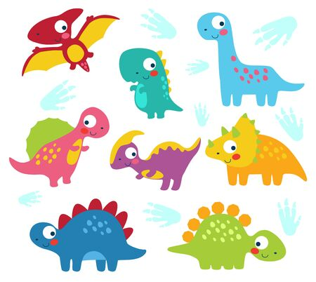 Cute funny colorful prehistoric dinosaur mascot characters collection Illustration