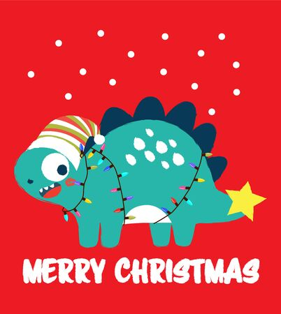 Cute dinosaur with Santa helper hat celebrating merry Christmas text Illustration