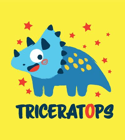 Happy little dinosaur monster smiling with Triceratops text Illustration