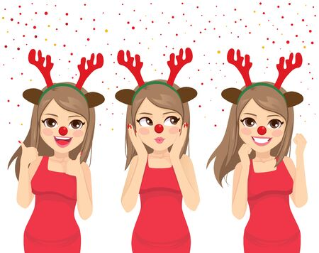 Happy dancing woman with deer headband and red nose celebrating Christmas