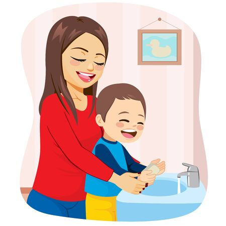 Mom and kid happy washing hands on bathroom hygiene concept Stock Illustratie