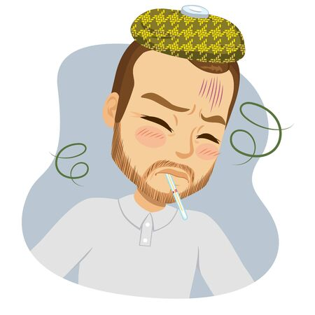 Middle aged sad man having fever with thermometer on mouth virus infection concept