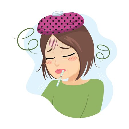 Middle aged sad woman having fever with thermometer on mouth virus infection concept