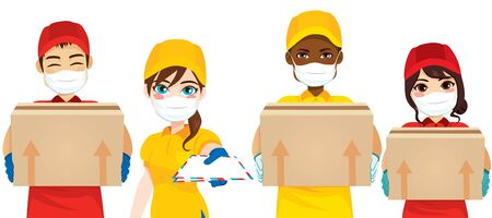 Protected courier from Corona Virus while working on delivery mail safety concept