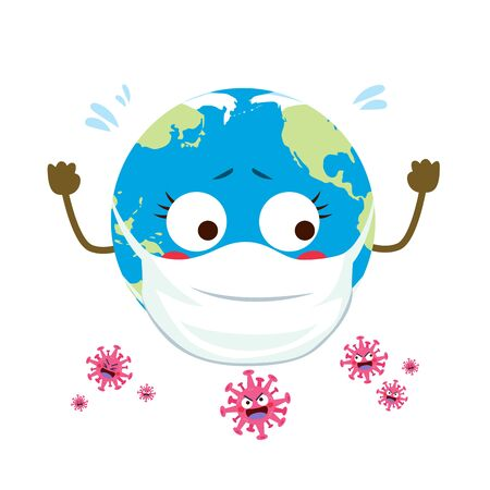 Cute helpless planet Earth surrounded by Coronavirus cartoon characters pandemic attack concept