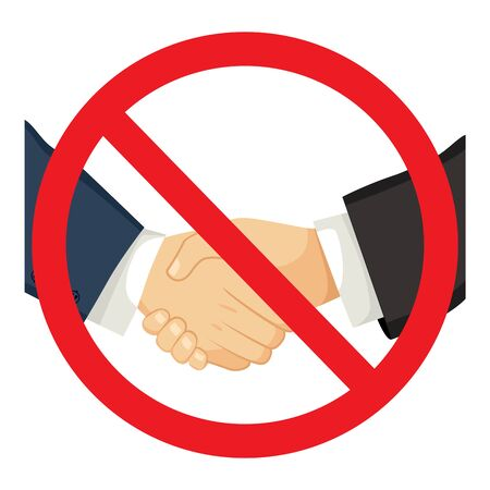 Forbidden red sign of shacking businessman hands on business meeting social distance concept Illustration