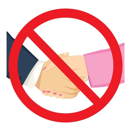 Forbidden red sign of shacking male and female hands on business meeting Illustration
