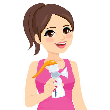 Woman holding manual breast pump machine for her breastfeeding routine