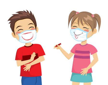 Kids having fun drawing smiles on their surgical masks Stock Illustratie