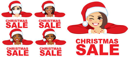 Diverse women wearing Santa hat smiling and winking with red Christmas sale text