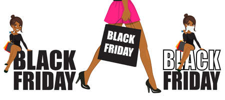 Beautiful young African American brunette woman sitting on black Friday text and walking holding sales bag Stock Illustratie