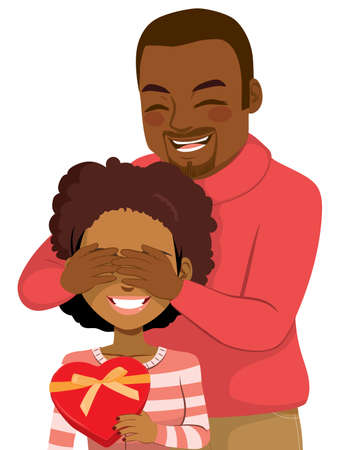 Beautiful young people of color couple on Valentine's day sharing love with heart shape gift box