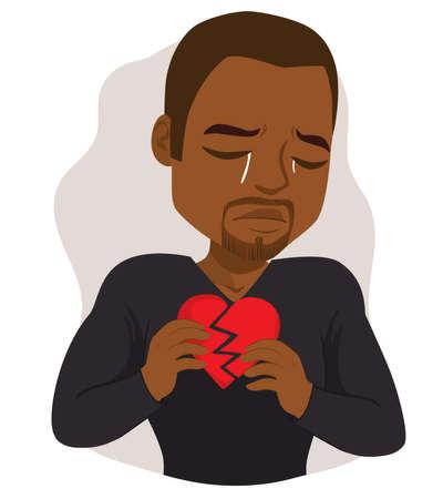 Black man crying sad holding broken heart feeling hurt