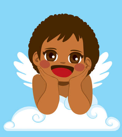 Cute little Black Cupid smiling on white cloud