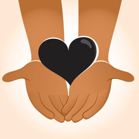 Two hands holding black heart Black Lives Matter Concept