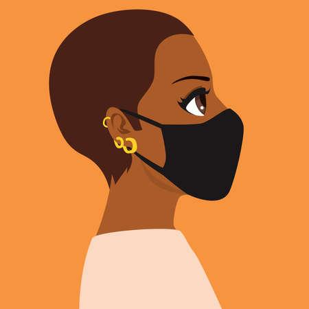 Black woman wearing black medical mask face profile