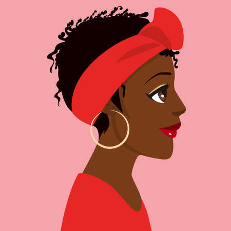 Illustration of a afro black woman profile side view Stock Illustratie