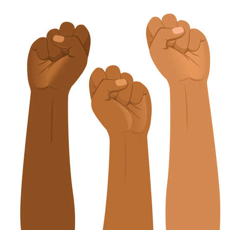 Three fists protesting for Black lives matter  movement Stock Illustratie