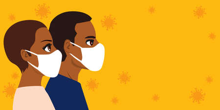 Black People wearing white medical face mask with copy space and virus in the background Stock Illustratie