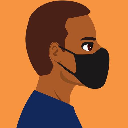 Black man wearing black medical mask face profile