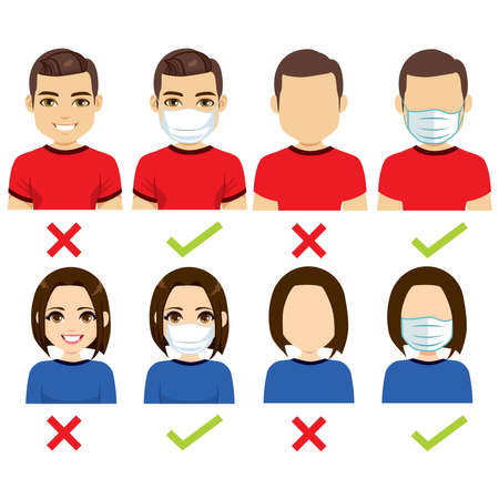 No entry without face mask and wear a mask Caucasian characters