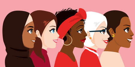 Illustration of female diverse faces. Women of various nationalities, skin color and age.