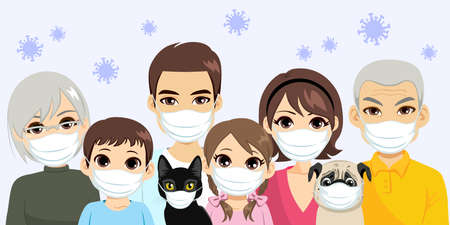 Illustration of extended family wearing face masks together with coronavirus floating in the background, pandemic virus safety concept