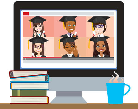 Six students holding diplomas in video on computer screen on top of desk with books and hot drink, online school graduation concept Stock Illustratie