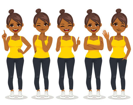 Young African American woman in casual clothes making different gestures isolated vector illustration