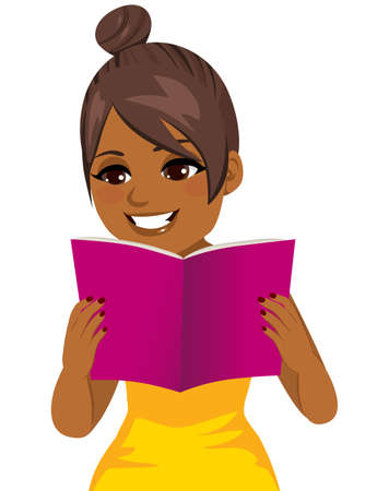 Young woman happy smiling focused reading holding book with both hands isolated vector illustration Stock Illustratie