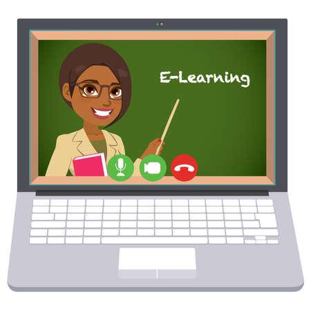 E-learning African American female teacher teaching online from laptop home schooling concept Stock Illustratie