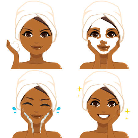 Beautiful young black woman showing beauty skin care routine