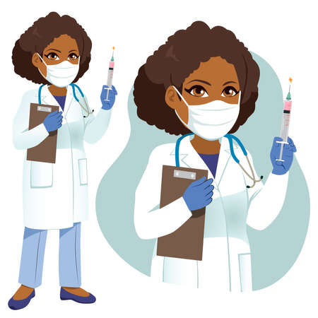 Female senior African American doctor with white lab coat holding  vaccine and clipboard