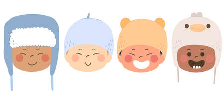 Four babies of different races wearing cute wool winter hats