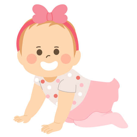 Cute baby girl with pink outfit crawling on floor