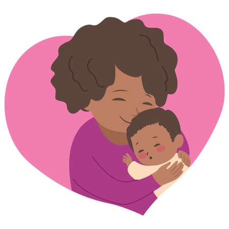 Cute African mom hugging little newborn baby sleeping Illustration