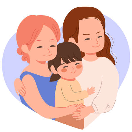 Cute homosexual lesbian couple family hugging, happy baby girl with two moms