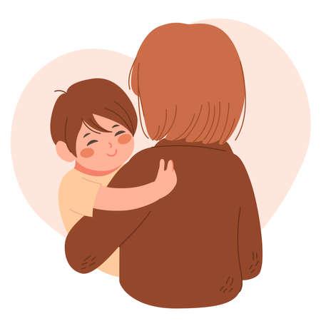 Illustration of happy little boy hugging mother showing love