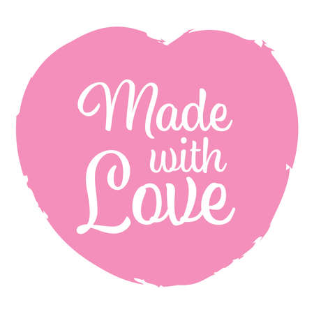 Pink Made with Love logo graphic design with calligraphic text on heart shape for greeting card