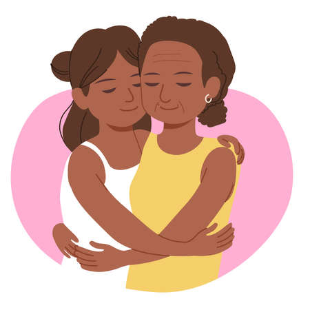 Young black African daughter hugging senior mother love family concept