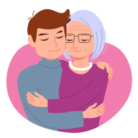 Young adult man son hugging senior mother love family concept