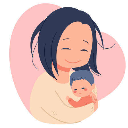 Illustration of lovely mother holding newborn baby with care