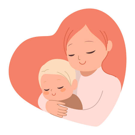 Beautiful young mother embracing little baby in heart shape