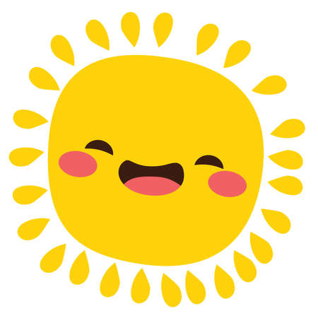 Illustration of cute happy sun character laughing