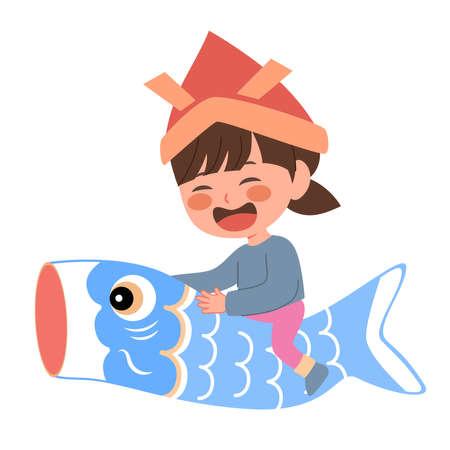 Vector illustration of girl riding blue carp fish children's day elements