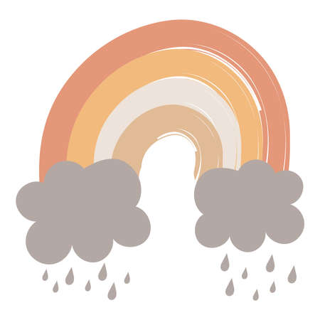 Childish flat vector illustrations rainbow with pastel colors and clouds raining isolated on white background. T shirt print design