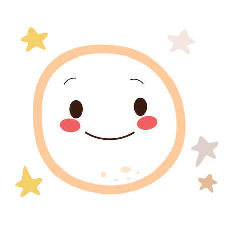 Illustration of cute happy moon character smiling