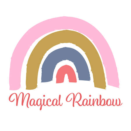 Illustration of trendy colorful stylish rainbow with text