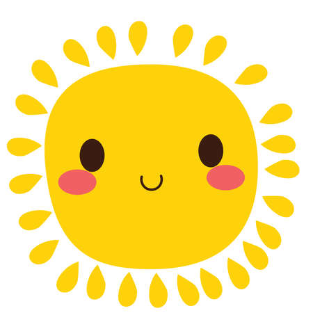 Illustration of cute happy sun character smiling